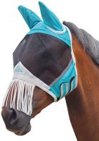 Shires Fine Mesh Fly Mask with Ears and Nose Fringe Teal