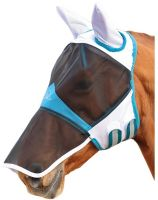 Shires Fine Mesh Fly Mask With Ears And Nose White/Blue