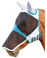 Shires Fine Mesh Fly Mask with Ears and Nose White