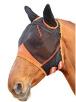 Shires Fine Mesh Fly Mask With Ears Black/Orange