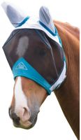 Shires Fine Mesh Fly Mask With Ears White/Blue