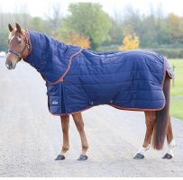 Shires Highlander Original 100g Lightweight Stable Rug & Neck Set Navy/Orange