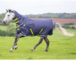 Shires Highlander Original 200g Medium Weight Combo Neck Turnout Rug Charcoal/Grey/Lime