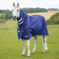 Shires Tempest Limited Edition Original 100g Lightweight Combo Neck Turnout Rug Navy/Grey/White