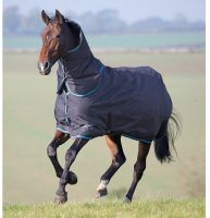 Shires Tempest Original 200g Medium Weight Detach-A-Neck Turnout Rug Charcoal/Turquoise