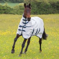 Shires Tempest Plus Sweet-Itch Combo Neck Fly Rug White/Turquoise/Navy