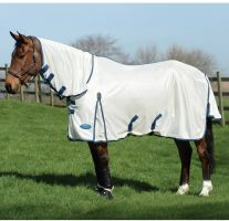 WeatherBeeta ComFiTec Airflow II Combo Neck Fly Rug White/Blue/Sea Blue