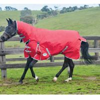 WeatherBeeta ComFiTec Classic 0g Lite Weight Combo Turnout Rug Red/Silver/Navy