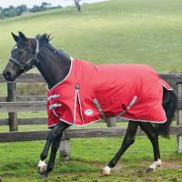 WeatherBeeta ComFiTec Classic 0g Lite Weight Standard Neck Turnout Rug Red/Silver/Navy