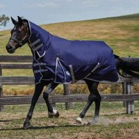 WeatherBeeta ComFiTec Essential Combo Medium Weight Turnout Rug Navy/Silver/Red