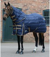 WeatherBeeta ComfiTec PP Channel Quilt 220g Medium Weight Detach-a-Neck Stable Rug Navy/Gold
