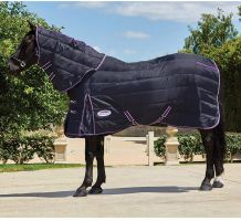 WeatherBeeta ComFiTec PP Channel Quilt 250g Medium Weight Detach-A-Neck Stable Rug Black/Purple