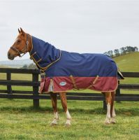 WeatherBeeta ComFiTec Premier Free 220g Medium Weight Detach-A-Neck Turnout Rug Navy/Burgundy/Gold