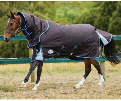 WeatherBeeta ComFiTec Ultra Cozi Detach-A-Neck Heavyweight Turnout Rug Charcoal/Blue/White