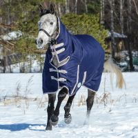 WeatherBeeta ComFiTech Essential 50g Lite Weight Standard Neck Turnout Rug Navy/Silver/Red