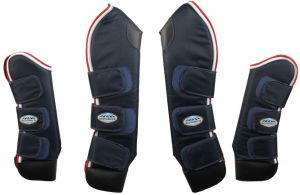 WeatherBeeta Deluxe Travel Boots Navy/Red/White